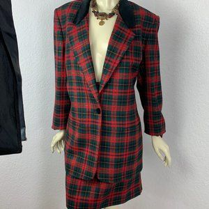 Talbots Tartan Plaid 100% Wool Skirt Suit